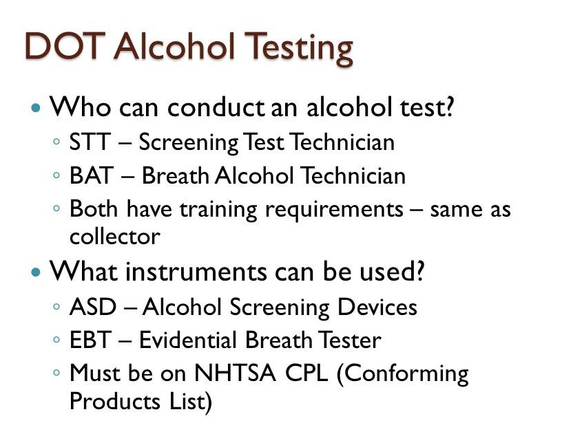 DOT Alcohol testing